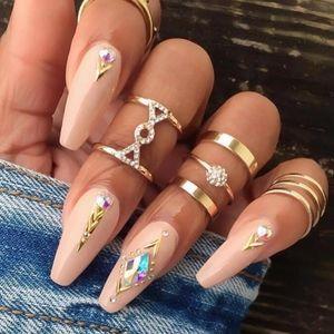 Jewelry - 4 for $25 SALE 5 Piece Rhinestone Crystal Ring Set